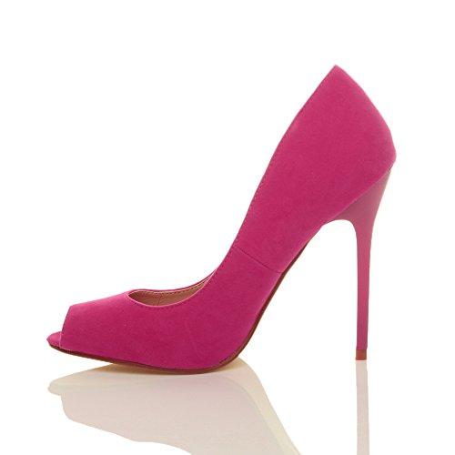 Ajvani Femmes Haut Talon Partie Ouverte Peep Toe Décolleté Chaussures Sandales Rose Daim