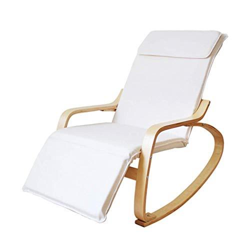 OHHG Schaukelstuhl Lazy Rocking Deck Rocking Freizeit Lounge Chair/Relaxer Relaxer Chairs Waschbar Verstellbarer Stall Schlafzimmer Balkon Garten (Mehrfarbig) (Farbe: Weiß) -