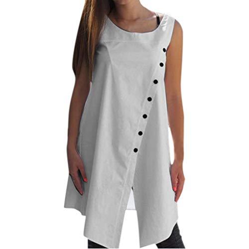 Lazzboy Frauen Arbeiten Beiläufiges Oansatz Normallack-knopf-unregelmäßiges ärmelloses Oberseite Um Damen Sommer Bluse Tank Top Shirt Weste Hemdbluse Loose Fit(Weiß,XL)