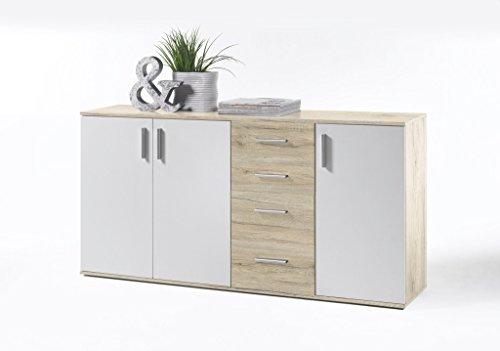 AVANTI TRENDSTORE - BEA 3- Sideboard in Imitazione di Quercia San Remo Chiaro/Bianco, ca. 160x82x35cm