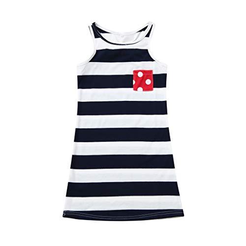 xmansky Kinder kleiden,Ärmellose gestreifte Kleider für Kinder Unabhängigkeitstag Eltern-Kind-Abnutzung Mädchen Freizeit Ausflug Maxi ()