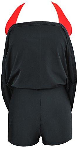 Bettydom Damen Neckholder Push Up Tankini mit Hotpants Badeanzug Schlankheits Mit Röckchen Bademode 2 Schwarz