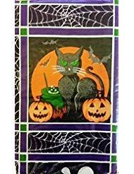 Square Kostüm Kürbis - Halloween jack-o-lanterns, schwarzen Katzen, Geister und Eulen Vinyl Tischdecke Flanell Rückseite, Vinyl, mehrfarbig, 52 Inches X 52 Inches Square
