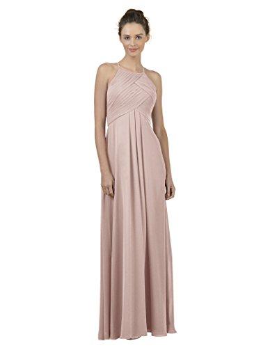 Alicepub Sexy Zurück Halter Brautjunferkleid Lang Ballkleid Abendkleider Damen, Silbernes Rosa, 60
