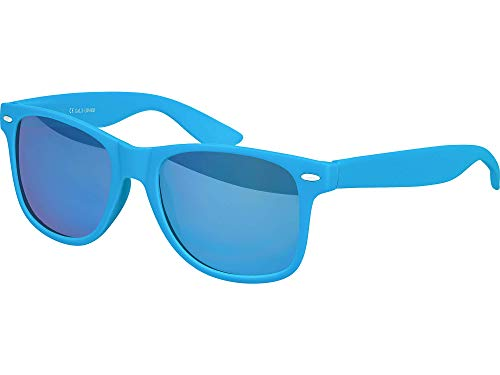 Balinco Hochwertige Nerd Sonnenbrille Rubber im Wayfarer Stil Retro Vintage Unisex Brille mit Federscharnier - 96 verschiedene Farben/Modelle wählbar (Hellblau - Blau verspiegelt)