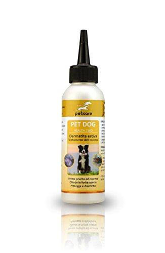 peticare cane lozione contro dermatite - trattamento speciale per cani con reazioni allergiche, elimina il prurito, contrasta la pelle secca del cane - 100% biologico - petdog health 2100 (100 ml)