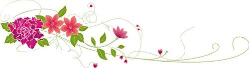 T-Shirt E063 Schönes T-Shirt mit farbigem Brustaufdruck - Logo / Comic - filligranes Pflanzentribal mit schönen Blüten Schwarz