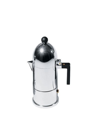 Alessi A9095/3 B La Cupola - Cafetera italiana (3 tazas), color negro