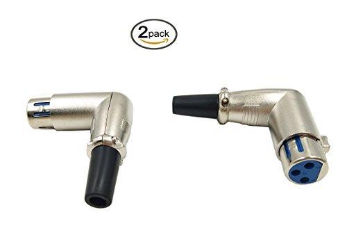 poyiccot (2er Pack) 90Grad XLR 3Pin Buchse Lötversion Audio Mikrofon Line Connector Adapter Konverter L-Form