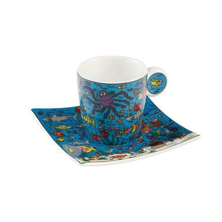 Goebel Under The Deep Blue Sea - Espressotasse Pop Art James Rizzi Bunt Fine Bone China 26102401 Blue Fine Bone China