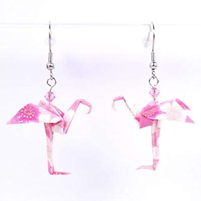 Boucles d'oreilles flamant roses avec des fleurs blanches origami - crochets inox