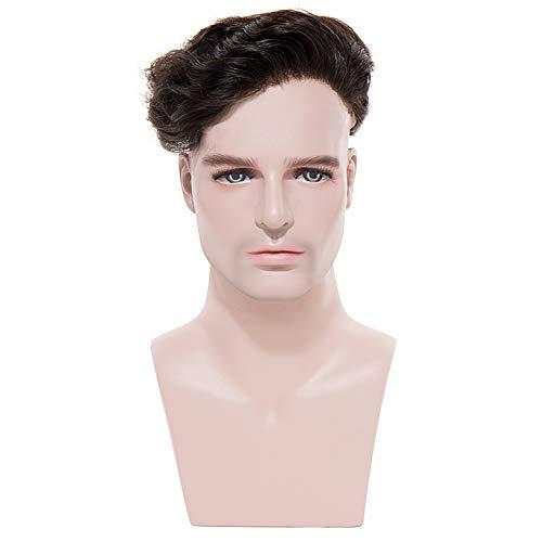 TESS Toupet für Männer Echthaar Extensions Toupee Herren Pony Haarteil Haarverlängerung Naturschwarz Perücken - Toupet Perücke Clip