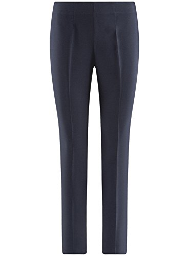oodji Collection Donna Pantaloni Stretti con Zip Laterale Blu (7900N)