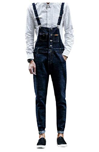 CuteRose Mens Denim Dungarees Vingtage Slim High Back Relaxed-Fit Bib Overall Dark Blue 26 Insulated Bib Overall