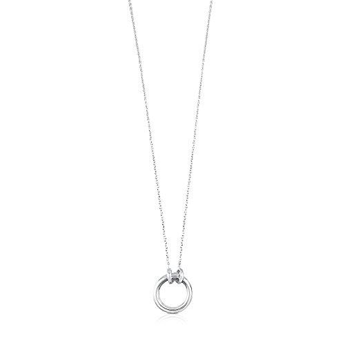 TOUS Collar HOLD con colgante Mujer en Plata de Primera Ley, Anilla: 1,6 cm, Largo: 43,5 cm.