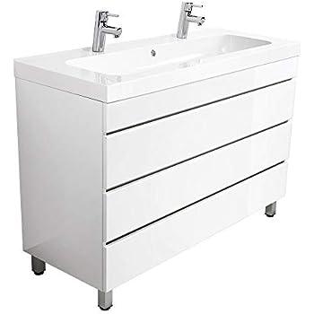 Waschtischunterschrank 120 cm breit weiß Hochglanz Doppel
