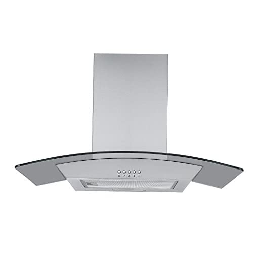 31bY8BYhjiL. SS500  - Cookology CGL700SS 70cm Curved Glass & Stainless Steel Kitchen Chimney Cooker Hood