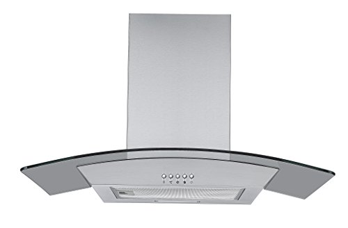 31bY8BYhjiL - Cookology CGL700SS 70cm Curved Glass & Stainless Steel Kitchen Chimney Cooker Hood