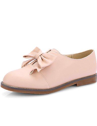 WSS 2016 Chaussures Femme-Décontracté / Habillé-Noir / Rose / Beige-Talon Plat-Talons / Bout Arrondi-Talons-Similicuir pink-us6.5-7 / eu37 / uk4.5-5 / cn37