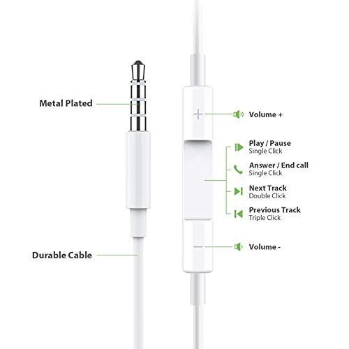 Gaea Kopfhörer mit Mikrofon Premium Earbuds Stereo Kopfhörer und geräuschisolierendes Headset, hergestellt für Apple iPhone, iPod, iPad, Samsung, Android/MP3, MP4, 2 Stück White02 Mp3 Mp4 Stereo