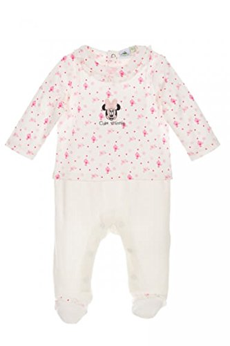 Disney Baby Strampler Mädchen weiß | Motiv: Minnie Mouse | Baby Schlafanzug im Zweiteiler-Look für Neugeborene & Kleinkinder | Größe: Newborn (56) (Schlafanzug Disney Kleinkinder Für)