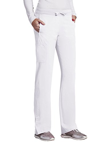 Barco One Women's 5205 Low Rise Knit Waist Cargo Track Scrub Pant- White- 2X-Large (Barco Scrubs)