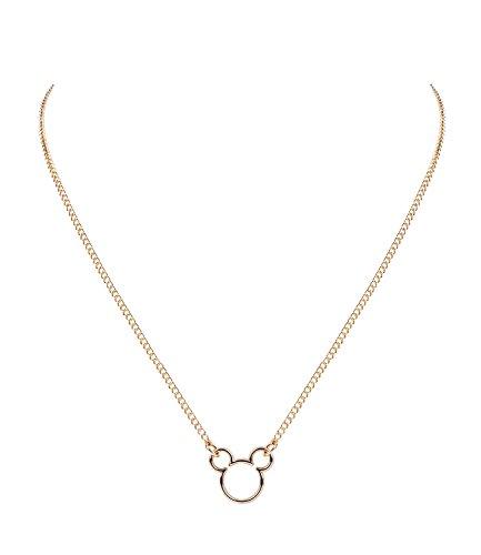 SIX Disney Adults, Micky Maus Kopf, Halskette, Anhänger, Cut Outs, Gold (758-173)