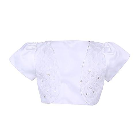 YiZYiF Kinder Mädchen Kurz Bolero Strickjacke festlich Schulterjacke Bauchfreie Perle Jacke für Taufe Kommunion Hochzeits Gr. 92-140 Weiß 92-98 ( Herstellergrösse 110cm)