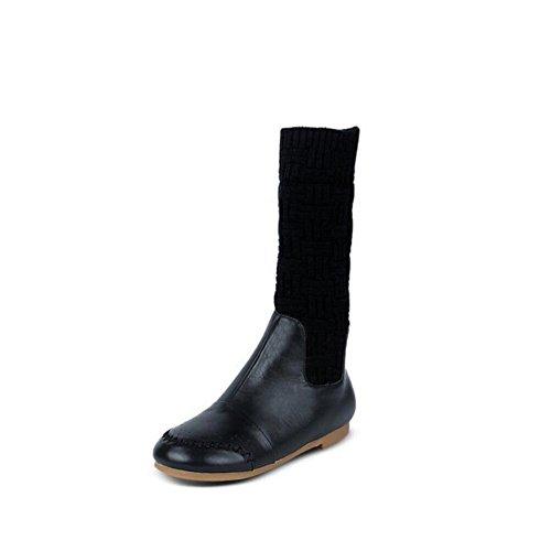YYH comodo appartamento piattaforma in vera pelle. scarpetta e velvet a piegare le donne lunghi stivali . black . 40