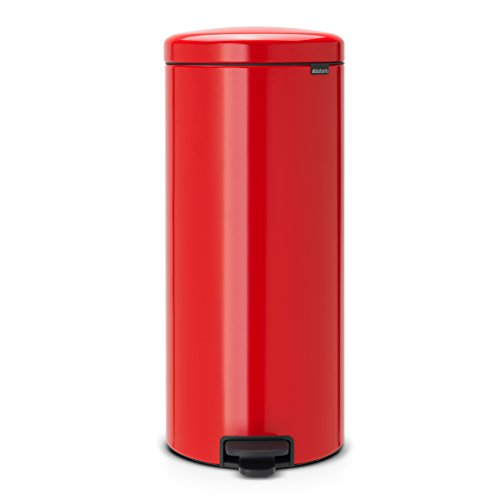 Brabantia Treteimer mit Inneneimer aus Kunststoff, stahl, Passion Rot, 30 Liter