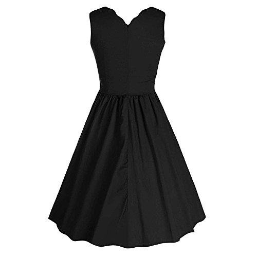 JOTHIN Damen 50s Elegant Rundhals Trägerkleid Retro Frauen Einfarbige  ärmellose Cocktailkleid Faltenrock Kleid Schwarz