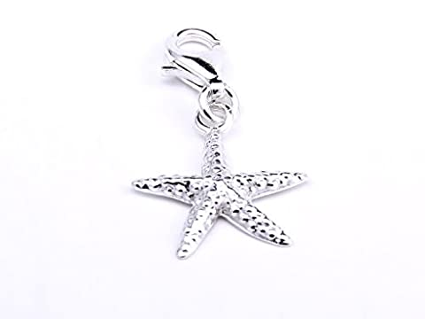 Genuine Silver 925 starfish clip on charm for european bracelet or necklace
