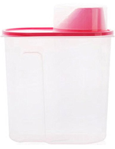 Plastic Dry Food Cereal Storage Box Dispenser Container with Lid for Rice Pasta (1.5L, Pink)