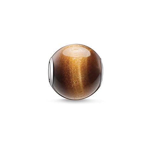 Thomas Sabo Damen-Bead Karma Beads 925 Sterling Silber Tigerauge poliert braun K0045-045-2 - Lächeln Armband