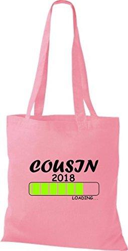 2018 Rosa Geschenk COUSIN Geburt Loading ShirtInStyle Baumwolltasche Stoffbeutel q8w1TU