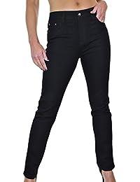 ICE (1494-1) Jeans en Denim Extensible Noir Uni pour Femmes Grande Taille