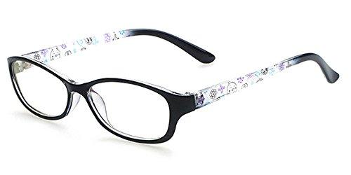 BOZEVON Unisex Kinder Trendige Brillen Myopie-Brillengestell Elegant Klassisches Nerd Brille Rahmen, Schwarz