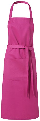 Schürze magenta -pink / Küchenschürze Grillschürze Latzschürze mit zwei Taschen vorne