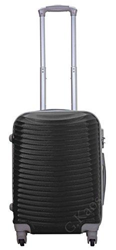 Trolley da cabina 55 cm valigia rigida 4 ruote 360° gradi in abs policarbonato antigraffio misura 55X38X22 art. 2030 (Nero)