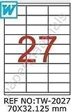TANEX TW-2027 Universale/Etichette indirizzi bianco 70 x 32,125 mm -eckig- 100 Fogli A4