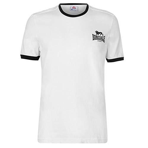 Lonsdale Herren Ringer T Shirt Kurzarm Rundhals Weiß XL -