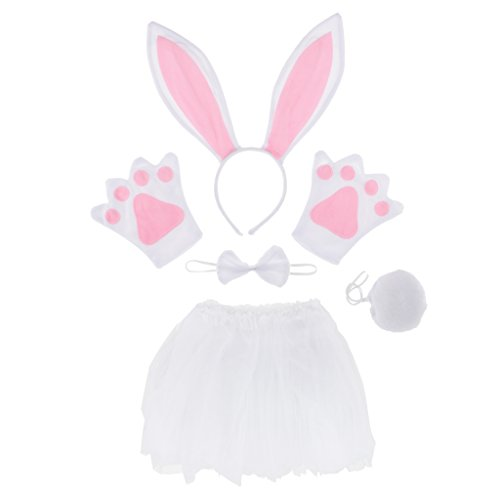 Sharplace Damen Mädchen Hasenkostüm Set - Haarreif mit Hasenohren, Handschuhe, Fliege, Tutu Rock und Schwanz für Ostern, Schwarz / Weiß - Weiß und ()