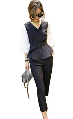 CuteRose Women's Fit Puff Sleeve Belted Oversized Office 2 Pieces Suit Black 3XL Belted Cotton Leggings