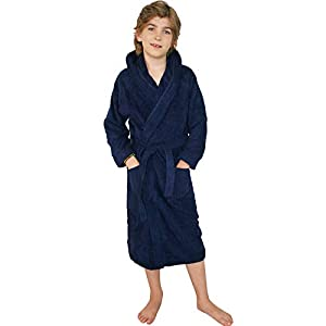 HOMELEVEL Kinder Frottee Bademantel aus 100% Baumwolle für Mädchen und Jungen (140, Dunkelblau)