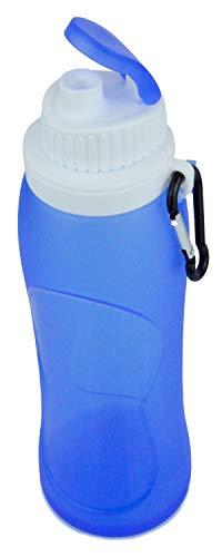 BlueFox Faltbare Trinkflasche mit Karabiner für 500 ml Volumen aus Silikon, robuste Wasserflasche, Freizeit, Getränke, Camping, Festival, Schule, Sport, Falttrinkflasche, Farbe: Blau