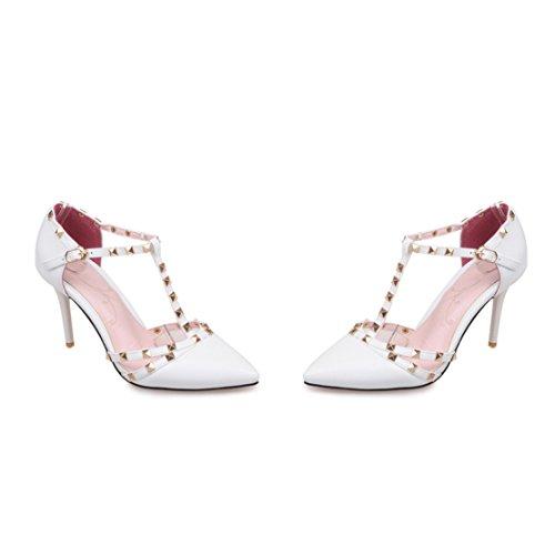 AIYOUMEI Spitze Zehen Lack Pumps mit Nieten T-Spangen High Heels Schuhe für Hochzeit Weiß