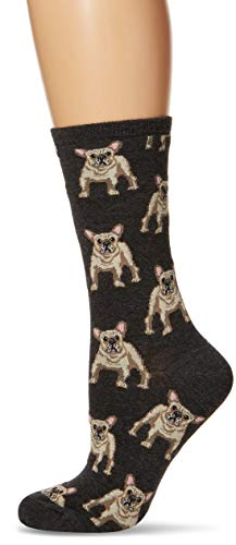 Calcetinesmith Frenchie Womens Charcoal Heather Crew Calcetines