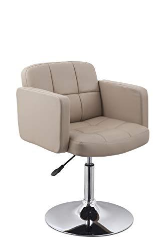 Duhome Elegant Lifestyle Clubsessel Sessel Kunstleder Cappuccino Esszimmerstuhl Lounge Sessel höhenverstellbar Drehbar Farbauswahl - Typ 524A