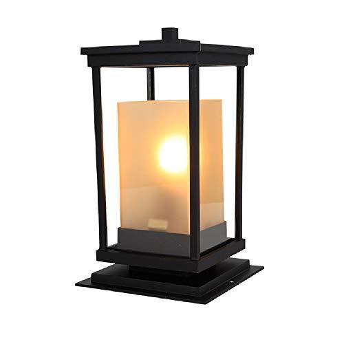 Wylolik Moderne Industrie Aluminium Säule Licht rechteckigen Rahmen mit klarem Glas Post Licht Garten Terrasse Beleuchtung Straßenlaterne außerhalb der Villa Dekoration Rasen Licht regendicht ein Lich