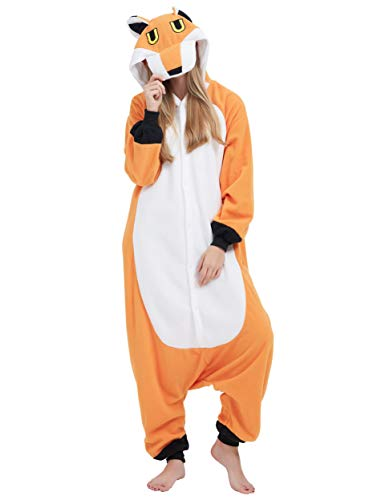 fasching fuchs ULEEMARK Jumpsuit Onesie Tier Karton Fasching Halloween Kostüm Sleepsuit Cosplay Overall Pyjama Schlafanzug Erwachsene Unisex Lounge Kigurumi Fuchs for Höhe 140-187CM